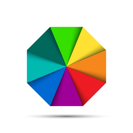 Color octagonal palette isolated on white background, simple vector illustration