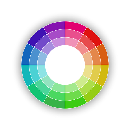 Round color palette isolated on white background, color schemes and spectrum, vector illustration Vectores