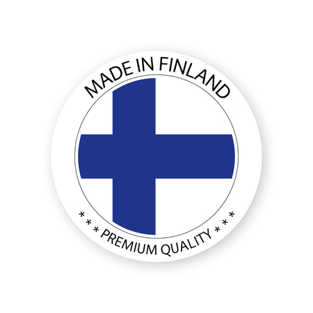 Modern vector Made in Finland label isolated on white background, simple sticker with Finnish colors, premium quality stamp design, flag of Finland