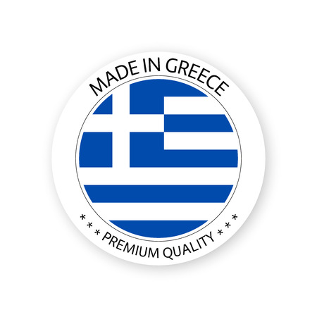 Modern vector Made in Greece label isolated on white background, simple sticker with Greek colors, premium quality stamp design, flag of Greece