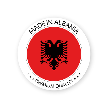 Modern vector Made in Albania label isolated on white background, simple sticker with Albanian colors, premium quality stamp design, flag of Albania Illustration
