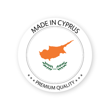 Modern vector Made in Cyprus label isolated on white background, simple sticker with Cypriot colors, premium quality stamp design, flag of Cyprus