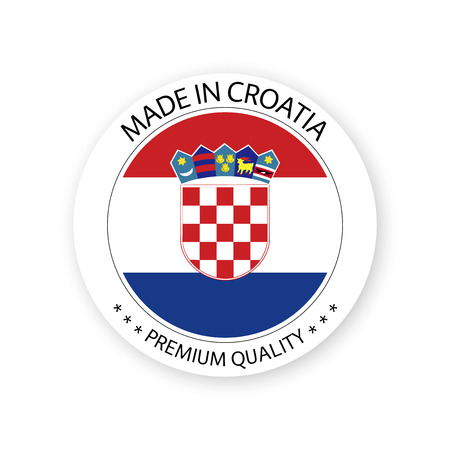 Modern vector Made in Croatia label isolated on white background, simple sticker with Croatian colors, premium quality stamp design, flag of Croatia Stock Vector - 120203971