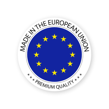 Modern vector Made in the European Union label isolated on white background, simple sticker with European colors, premium quality stamp design, flag of European Union