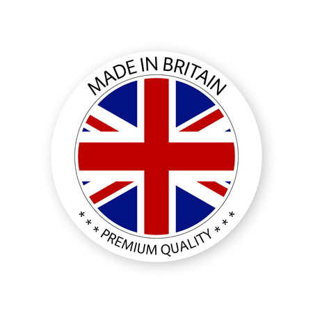 Modern vector Made in Britain label isolated on white background, simple sticker with British colors, premium quality stamp design, flag of Britain