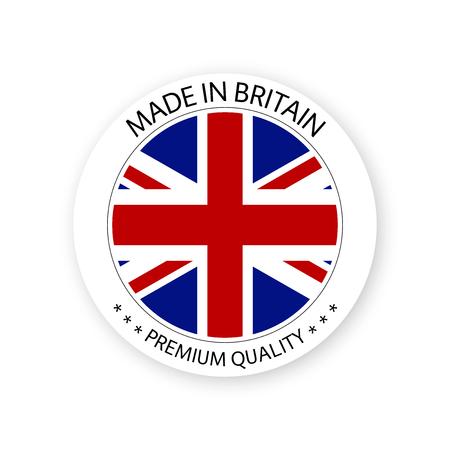 Vecteur moderne Made in Britain label isolé sur fond blanc, simple autocollant aux couleurs britanniques, conception de timbres de qualité premium, drapeau de la Grande-Bretagne