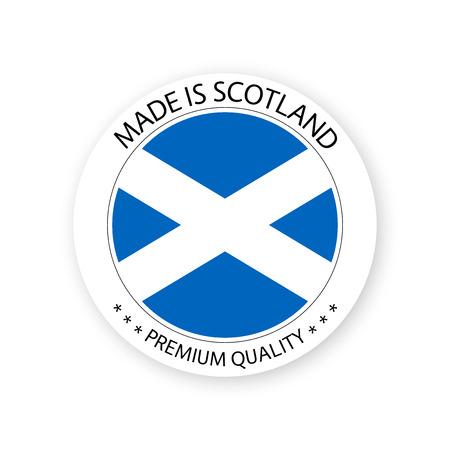 Moderner Vektor Made in Scotland-Etikett isoliert auf weißem Hintergrund, einfacher Aufkleber mit schottischen Farben, hochwertiges Stempeldesign, Flagge Schottlands