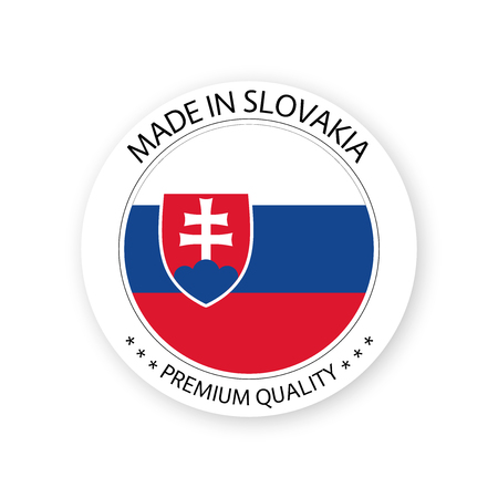 Modern vector Made in Slovakia label isolated on white background, simple sticker with Slovak colors, premium quality stamp design, flag of Slovakia