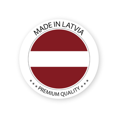 Modern vector Made in Latvia label isolated on white background, simple sticker with Latvian colors, premium quality stamp design, flag of Latvia