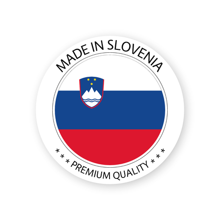 Modern vector Made in Slovenia label isolated on white background, simple sticker with Slovenian colors, premium quality stamp design, flag of Slovenia