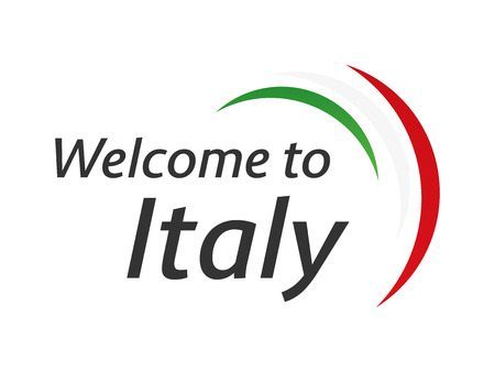 Welcome to Italy symbol with flag, simple modern Italian icon isolated on white background, vector illustration