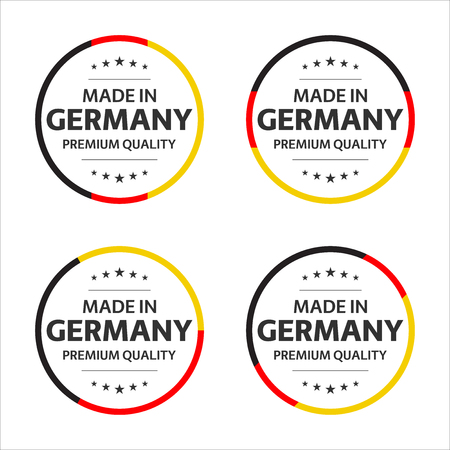 Set of four German icons, English title Made in Germany, premium quality stickers and symbols, simple vector illustration isolated on white background Vectores