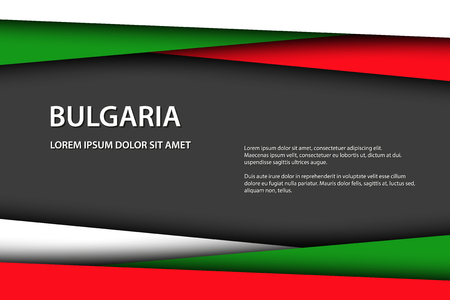 Modern vector background with Bulgarian colors and grey free space for your text, overlayed sheets of paper in the look of the Bulgarian flag, Made in Bulgaria Foto de archivo - 124289851