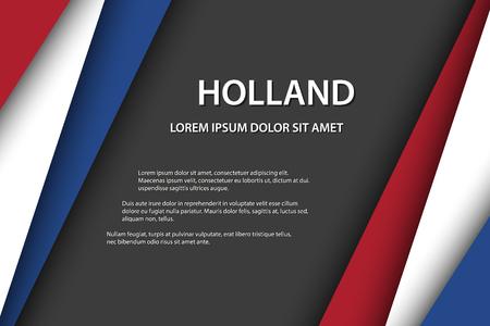 Vektorhintergrund mit niederländischen Farben und freiem Grauraum für Ihren Text, niederländische Flagge, Made in Holland, niederländisches Symbol und Symbol