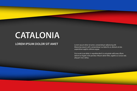 Vector background with Catalan colors and free grey space for your text, Catalan flag, Made in Catalonia, Catalan icon and symbol