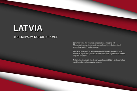 Modern vector background with Latvian colors and grey free space for your text, overlayed sheets of paper in the look of the Latvian flag, Made in Latvia Illustration