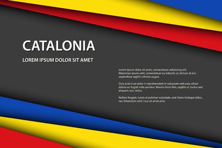 Modern vector background with Catalan colors and grey free space for your text, overlayed sheets of paper in the look of the Catalan flag, Made in Catalonia Illustration