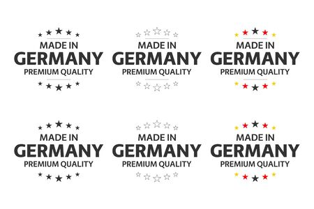 Set of six German icons, Made in Germany symbols, premium quality stickers, simple vector illustrations isolated on white background