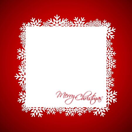 Red Christmas gift card, Merry Christmas snowflake background with space for your wishes, modern holiday vector illustration
