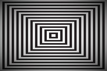 Black and white square illusion, simple abstract pyramid