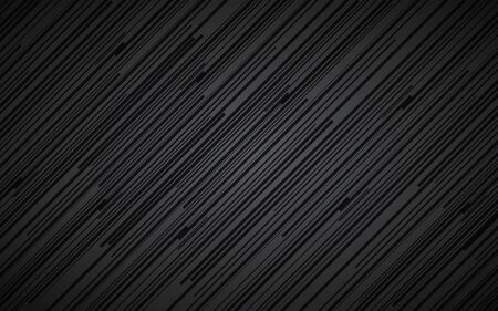 Dark abstract background, black and grey striped pattern, diagonal lines and strips, metal fiber, vector illustration Vetores