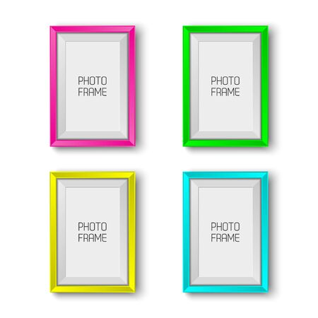 Realistic picture frames in neon colors isolated on white background with blank space for your photo, pink, green, yellow and cyan picture frames