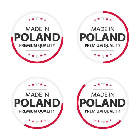 Set of four English title Made in Poland, premium quality stickers and symbols isolated on white