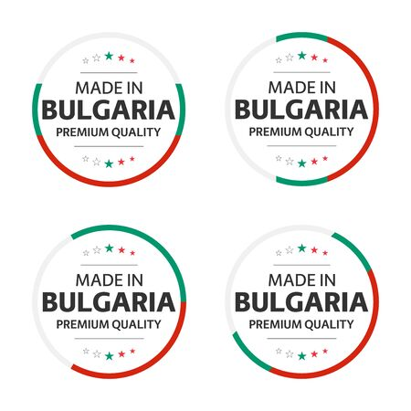 Set of four Bulgarian icons, English title Made in Bulgaria, premium quality stickers and symbols, internation labels with stars, simple vector illustration isolated on white background