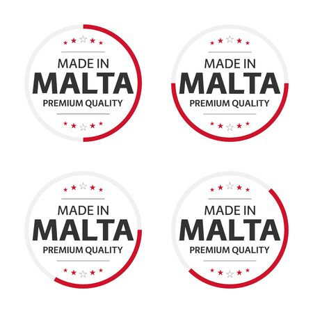 Set of four Maltese icons, English title Made in Malta, premium quality stickers and symbols, internation labels with stars, simple vector illustration isolated on white background