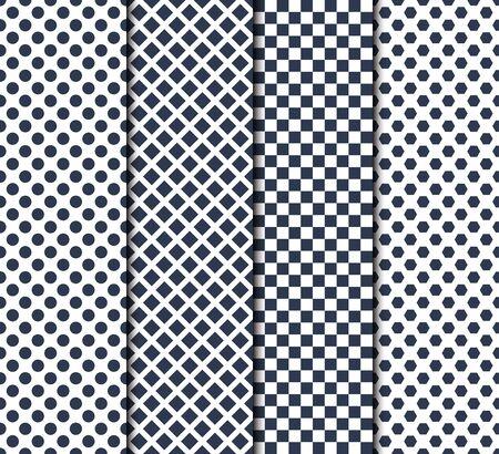 Satz von vier nahtlosen Mustern mit Kreis, Linien, Quadraten und Achtecken Vektorgrafik