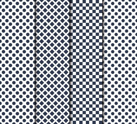 Set of four seamless patterns with circle, lines, squares and octagons Vektoros illusztráció