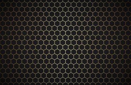 Sfondo di poligoni geometrici, carta da parati metallica astratta nera e oro, semplice illustrazione vettoriale Vettoriali