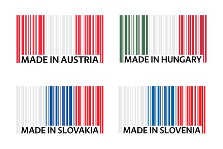 Set of four bar code symbols Made in Austria, Made in Hungary, Made in Slovakia and Made in Slovenia, simple icons, Austrian flag, Hungarian flag, Slovak flag and Slovenian flag isolated on a white ba