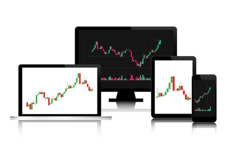 Set of modern digital tech devices with candlestick chart on the screen isolated on white background, trading graphic budiness concept, financial stock market