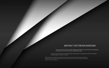 Black and white modern material design, overlayed sheets of paper, corporate template for your business, vector abstract widescreen background