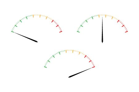 Set of simple vector tachometers with indicators in red, yellow and green part, speedometer icon, performance measurement symbol isolated on white background Vector Illustratie
