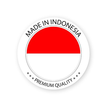 Modern vector Made in Indonesia label isolated on white