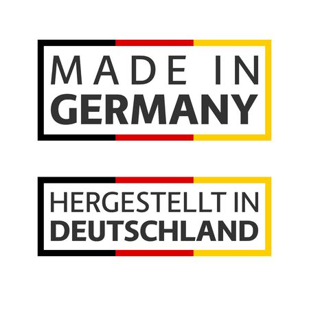 Two quality marks Made in Germany, colored vector symbol with tricolor isolated on white