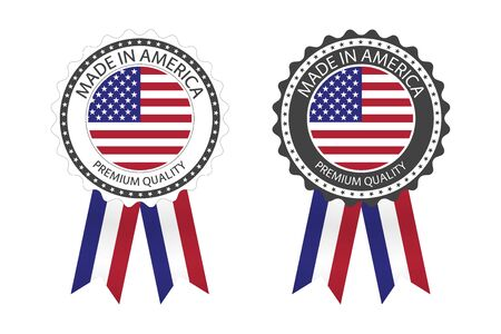 Two modern vector Made in America labels isolated on white 일러스트