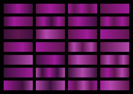 Vector set of purple metallic gradients, swatches collection, shiny gradient set on black background, metal texture