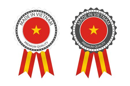 Two modern vector Made in Vietnam labels isolated on white