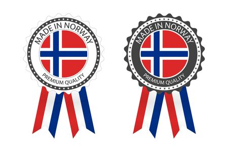 Two modern vector Made in Norway labels isolated on white
