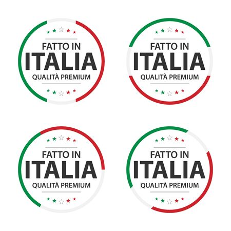 Set of four Italian icons, premium quality stickers and symbols isolated on white
