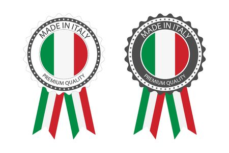 Set of premium quality labels with Italian flag
