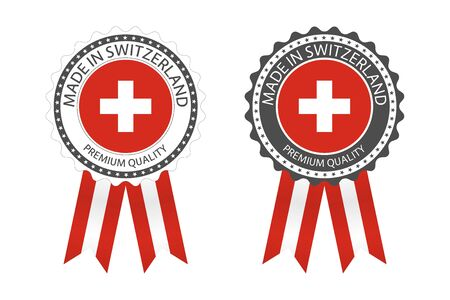 Two modern vector Made in Switzerland labels isolated on white 일러스트