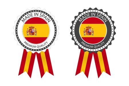 Two modern vector Made in Spain labels isolated on white