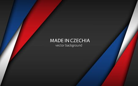 Made in Czechia, Made in Czech Republic, modern vector background with Czech colors, overlayed sheets of paper in the colors of the Czech tricolor, abstract widescreen background