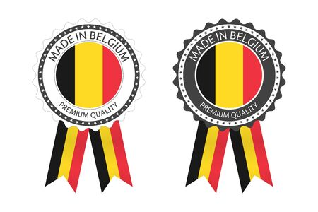 Two modern vector Made in Belgium labels isolated on white