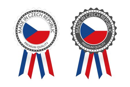 Two modern vector Made in Czech Republic labels isolated on white