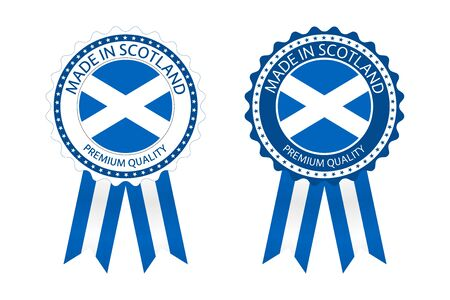 Two modern vector Made in Scotland labels isolated on white